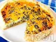 Рецепта Спаначен пай със сирене Фета  и сметана